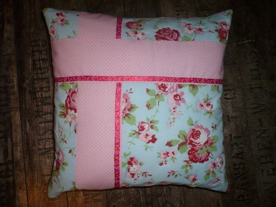 Cushion with roses and pink dots by Maggiepatchwork on Etsy
