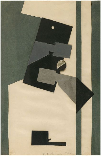 Gertrude Greene: (1939)    Collage and graphite on paper, 12 x 8 inches