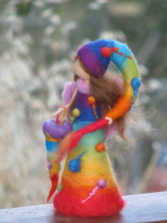 Needle felted rainbow waldorf inspired fairy by Made4uByMagic. $72.00, via Etsy.