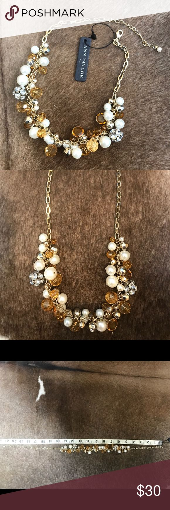 "NWT Sparkling Ann Taylor Statement Necklace Sparkling gold tone statement necklace with amber crystals, gold beads, crystal baubles and faux pearls. 21"" in length and adjustable with lobster claw catch. NWT Super eye-catching! Ann Taylor Jewelry Necklaces"