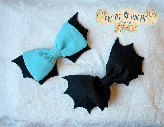 Batty Chan hair bow in black white mint red burgundy bat bow gothic lolita pastel goth hair clip nu goth
