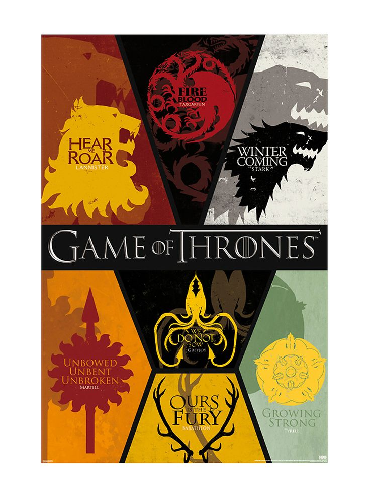"<p>Seven kingdoms. One throne. Which house are you rooting for? Deck your walls with this poster from <i>Game of Thrones</i> featuring a house sigils and phrases design.</p>  <ul> 	<li>24"" x 36""</li> 	<li>Imported</li> </ul>"