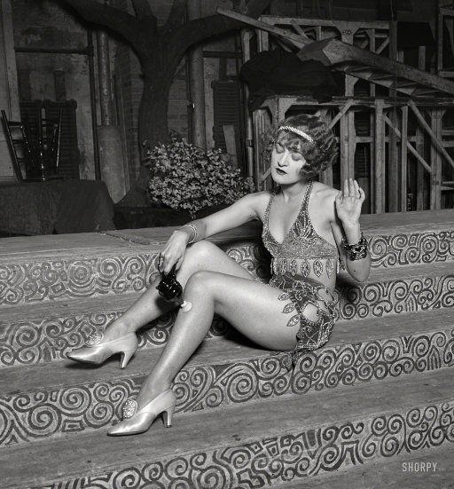 "Washington, D.C., 1926. ""Dancers -- chorus girl using electric massage vibrator."" Harris & Ewing Collection glass negative."