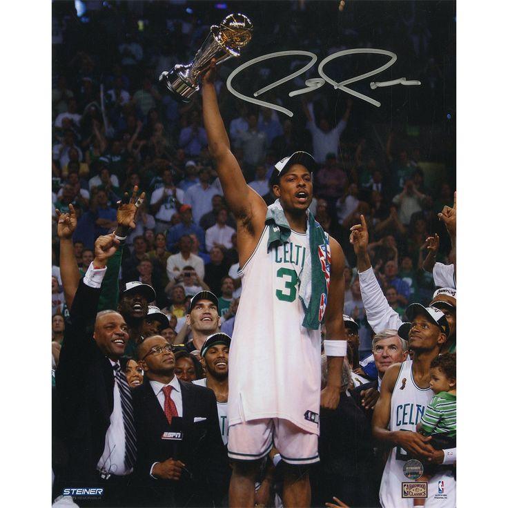 Paul Pierce Signed 8x10 Holding Up 2008 NBA Finals MVP Trophy