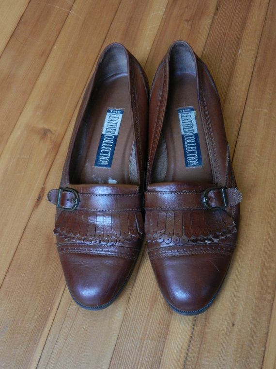Vintage Brown Leather Loafers Womens Flats By