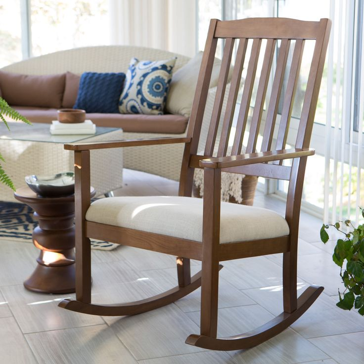Belham Living Upholstered Mission Wood Nursery Rocker
