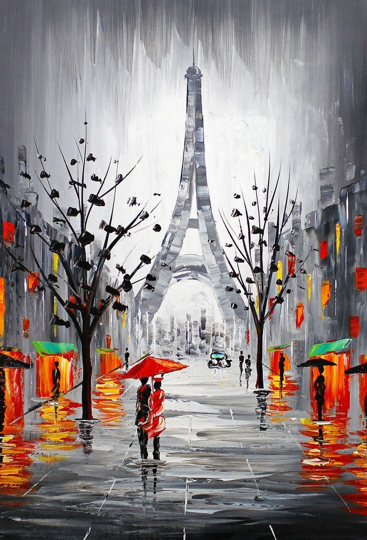 Eiffel Tower Paris France Cityscape Signed Original Oil Painting 16x24 | eBay