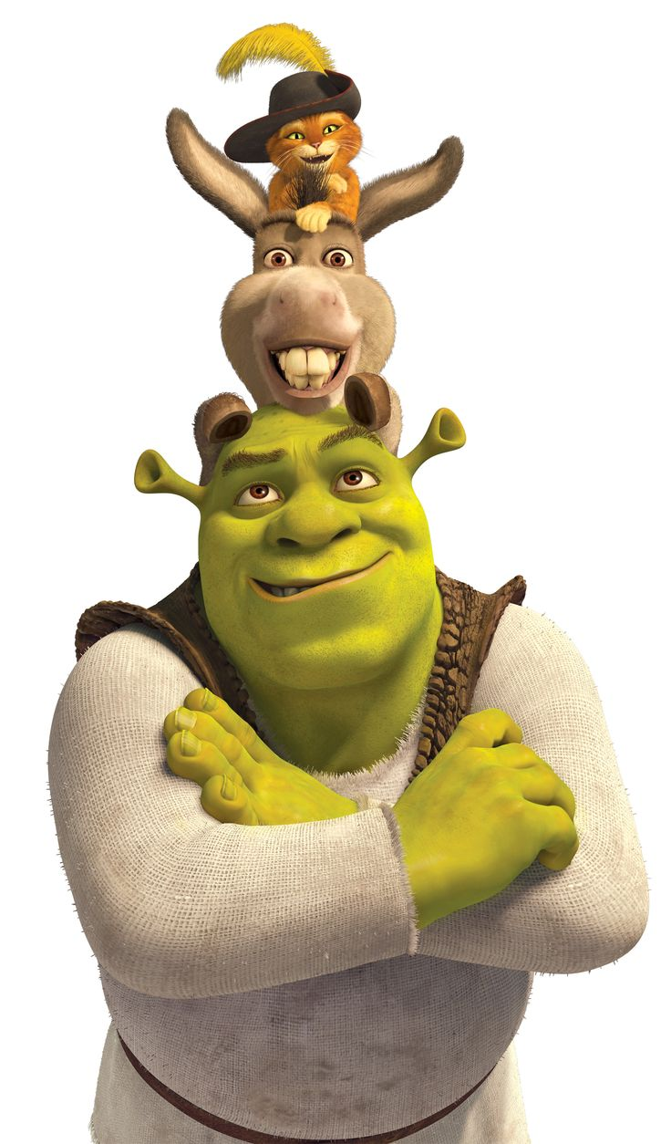 Gato, Burro y Shrek.