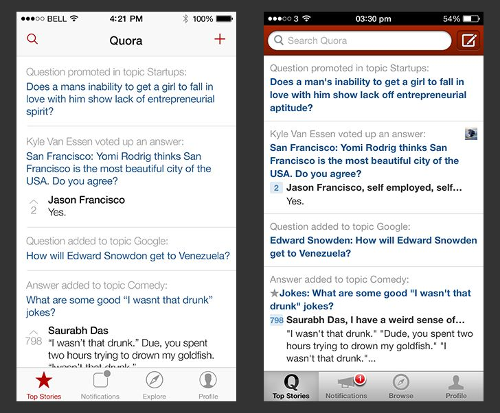 Here is an iOS 7 redesign of the Quora app