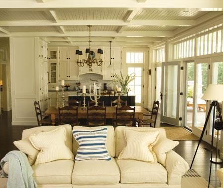 open floor plan, wall of windows: Open Concept, Living Rooms, Open Spaces, Color Schemes, French Doors, Open Floors Plans, Transom Window, Families Rooms, Rooms Color