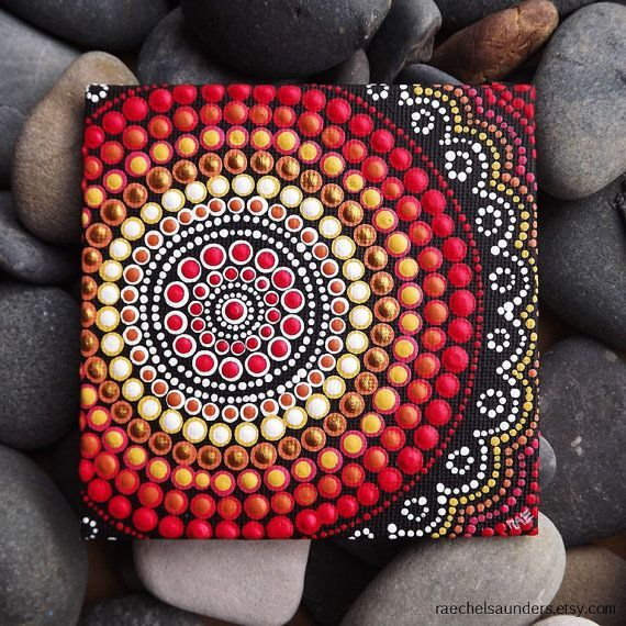 Dot Painting Fire Design Biripi Artist Raechel by RaechelSaunders