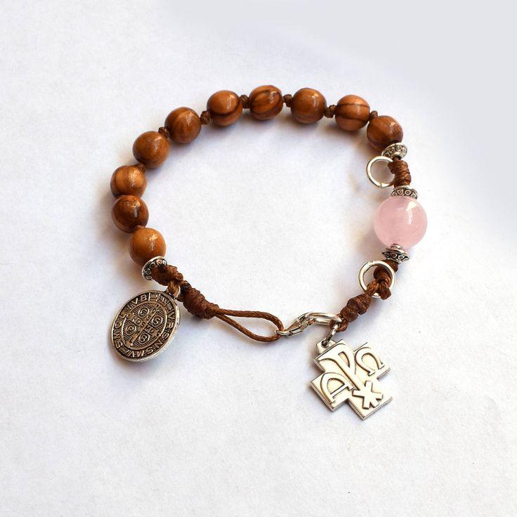 Saint Benedict Rosary bracelet, Holy land olive wood chaplet, wooden bracelet w/ gemstone quartz, Catholic jewelry, first communion gift