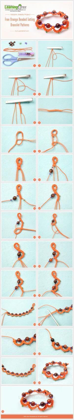 Herbst Schmuck Projekt- Orange Gratis-Perlen-Armband Occhi-Muster durch wollen