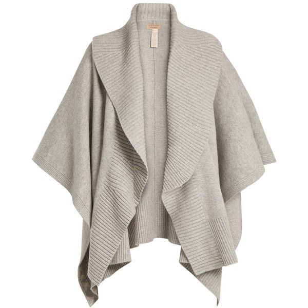 Burberry Ribbed-lapel wool and cashmere-blend poncho (2.285 BRL) ❤ liked on Polyvore featuring outerwear, cardigans, mid grey, grey poncho, burberry, wool ponchos, shrug cardigan and woolen shawl