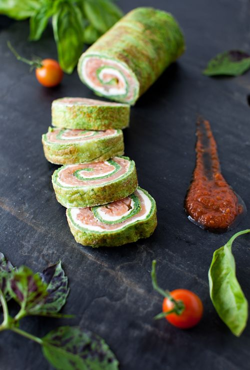 Spinach and Basil Smoked Salmon Roll The recipe looks a bit complicated, but I sure do wish someone would make this for me.
