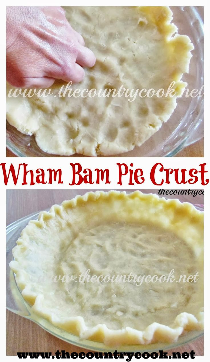 The Country Cook: Wham Bam Pie Crust -- wonder if this would work with GF flour?