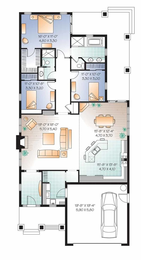 Traditional Style House Plan 3 Beds 2 Baths 1838 Sq Ft Plan 23 2532 House Plans House Plans One Story Floor Plans