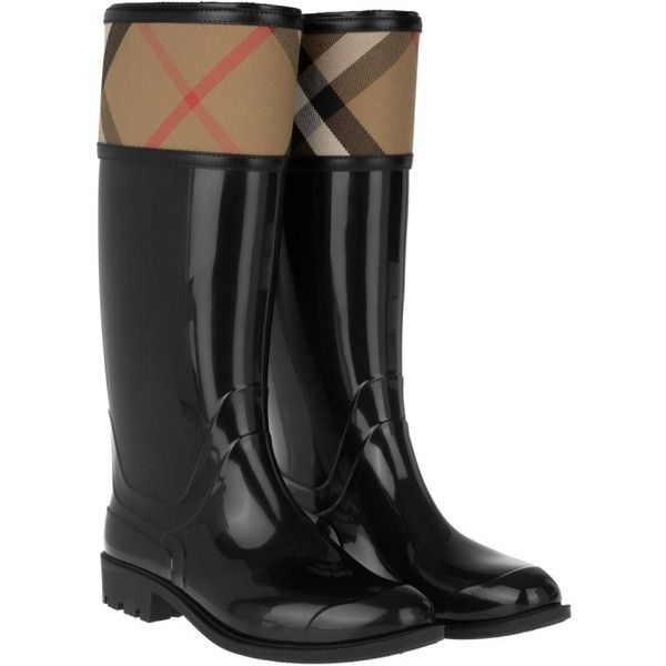 Burberry Rainboots Crosshill Housecheck Check Knee High Black in... (502 370 LBP) ❤ liked on Polyvore featuring shoes, boots, black, knee-high boots, black wellington boots, knee boots, burberry boots, checkered boots and knee high rubber boots