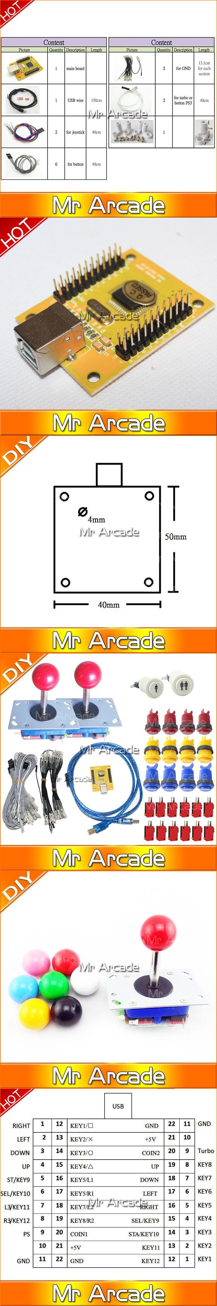 DIY PC PS/3 2 IN 1 Arcade controller 2 player MAME Multicade Keyboard Encoder USB Jamma Happy Style Push Buttons ZIPPYY Joystick