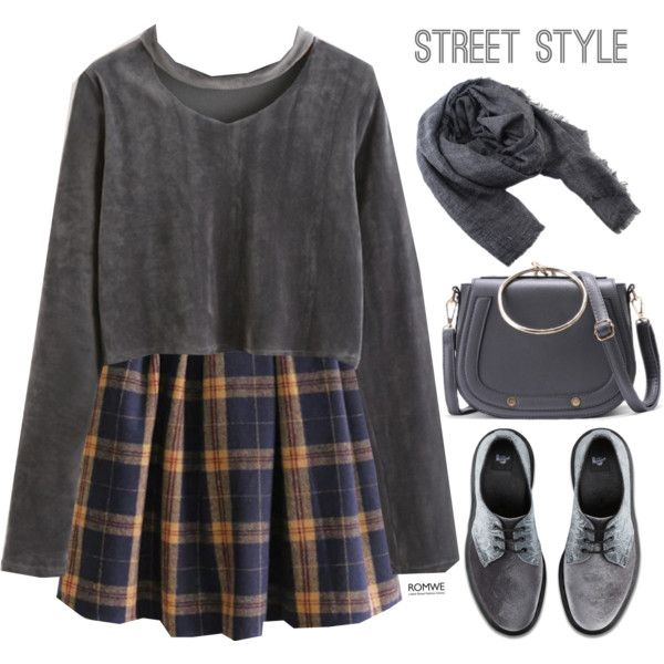 Romwe #7 VII by oliverab on Polyvore featuring Dr. Martens, romwe, grey and velvet