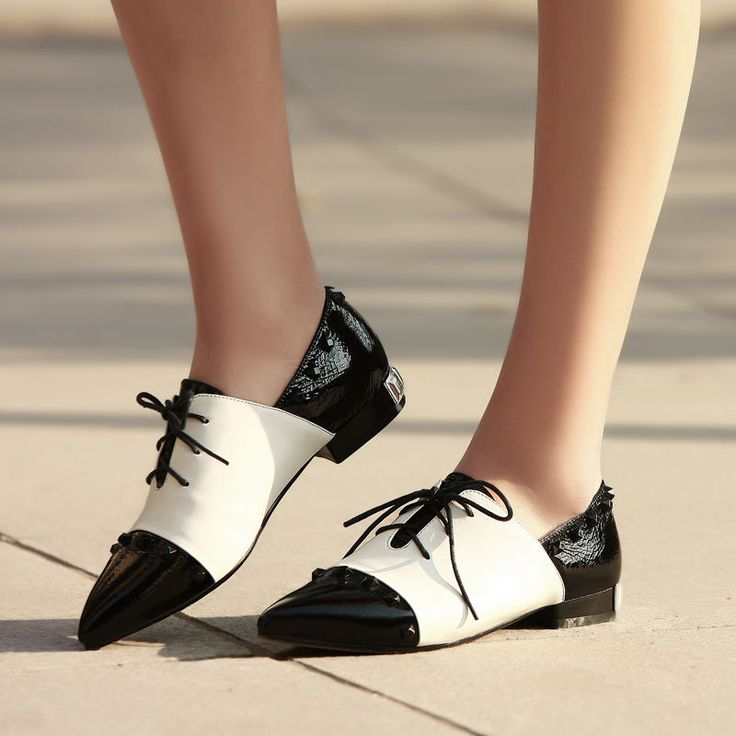 Elegant Womens Low Heels Oxford Pointed Toe Lace Up Rivet Studded College Shoes #new #Oxfords