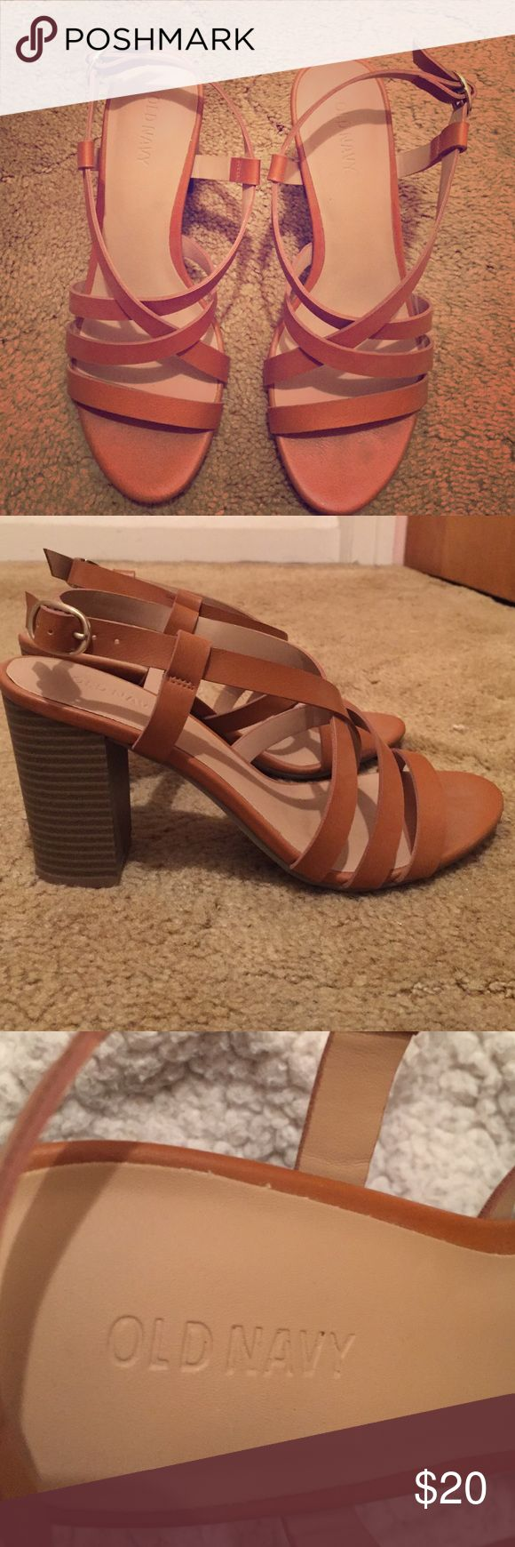 Tan strappy heels Never worn Old Navy heeled sandals! Size 8 Old Navy Shoes Heels