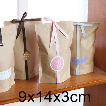 Serratura della chiusura lampo sacchetto di carta kraft marrone- alzarsi sacchi a soffietto- partito/cerimonia nuziale favore- tè/imballaggi alimentari 9x14x3cm