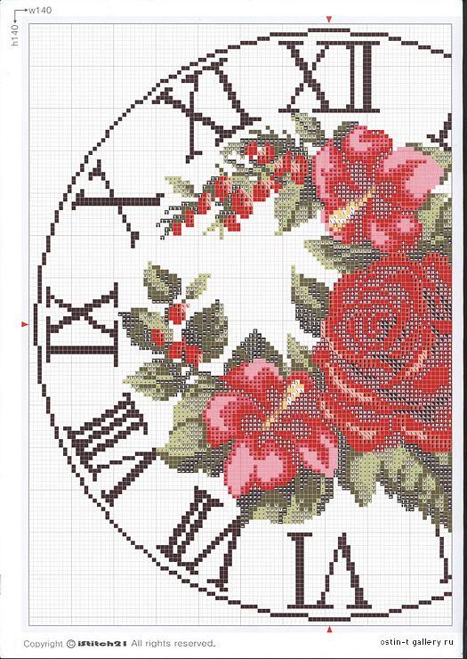 Cross-stitch Roses Clock, part 2..  color chart on part 3..   Gallery.ru / Фото #4 - ***** - celita