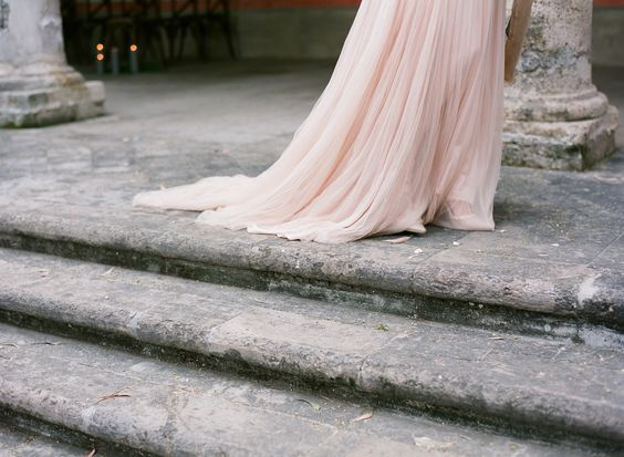 the end of a pink dress