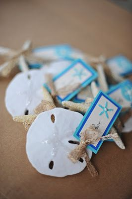 Sand Dollar Name Cards for Beach Wedding