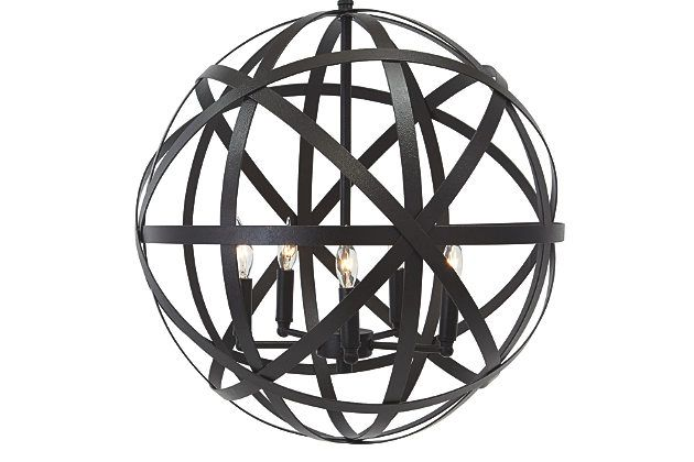 Celestial style. Classic armillary pendant light brings an out-of-this-world element into your space. Wonderfully open and airy, its metal cage encircles candelabra-style bulbs for a romantic glow.