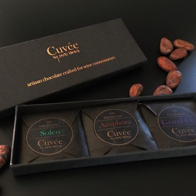 Three Variety SMALL Gift Box 21g by Cuvée Chocolates  The perfect bonbonnière and welcome gift!  A selection of three, 7g chocolate bites, individually wrapped and packaged in a beautiful gift box – a chocolate lover's dream!  Gift box contains Soleo, Amphora and Grand Cru varieties.