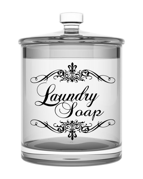 Laundry Soap label for your Glass Canister, Powdered Soap Label, Vinyl Detergent Label    This vinyl decal measures 7 inches x 7 inches and is