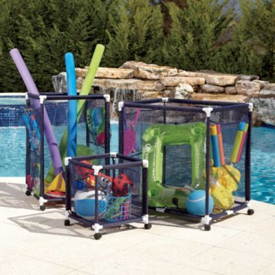 Pool Toy Storage Bins. These could be made with pvc pipe and mesh fabric. I like the pouches on the side too