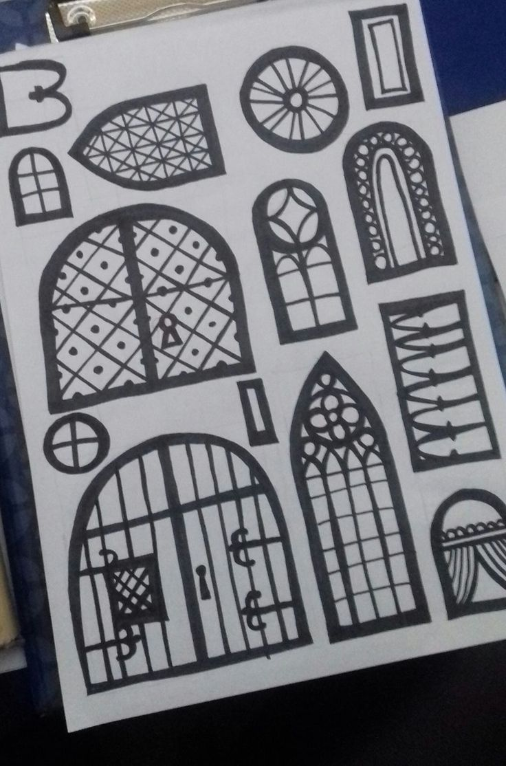 doors and windows - sticker to create your own paper castle