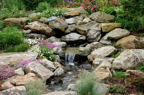 rock garden with waterfall water gardens pinterest. Black Bedroom Furniture Sets. Home Design Ideas