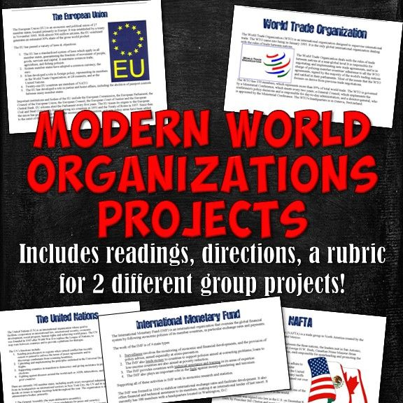 This download includes all the resources needed for students to create two different presentation-type projects based on five modern world organizations: