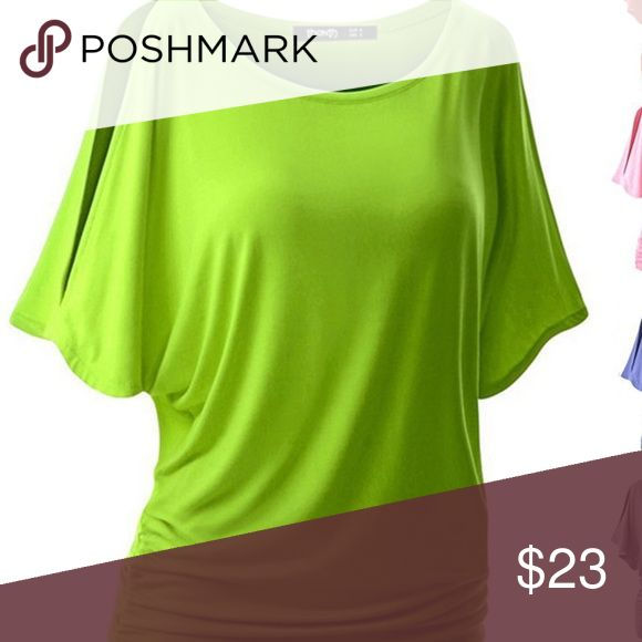 Women's Summer Bat sleeve T-shirt Women's Summer bat sleeve T-shirt. Loose solid color round neck. Short sleeve ladies Fashion ladies blouse plus size. Neon green in color. Tops Blouses