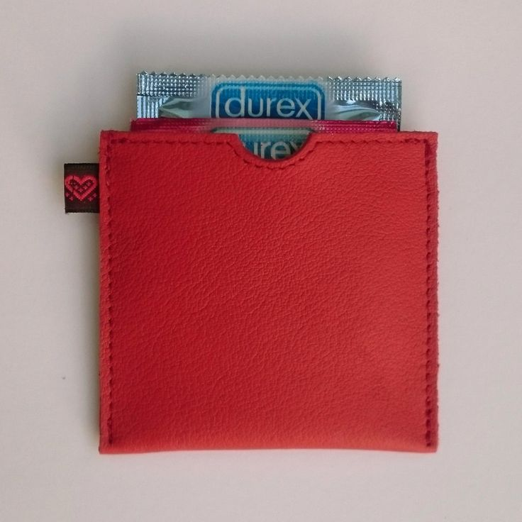 SALE! KDDLE Red genuine Leather Buddy - Condom Case wallet pouch envelope cuir - rode leren condoomhouder - Kondomtasche rot by KDDLE on Etsy