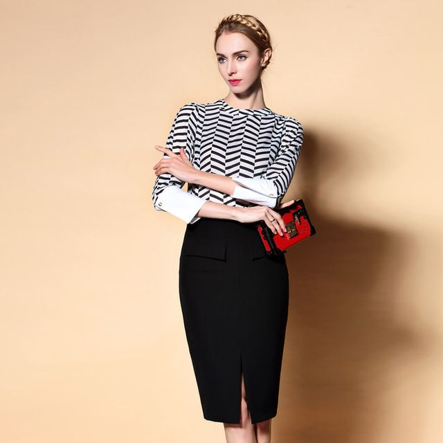 High Quality New Work Suit Business Women Inspired Fashion 2016 Spring Ladies Color Block Print Blouse+Black Pencil Skirt(1Set) US $60.32 /piece    CLICK LINK TO BUY THE PRODUCT  http://goo.gl/oYWEYs