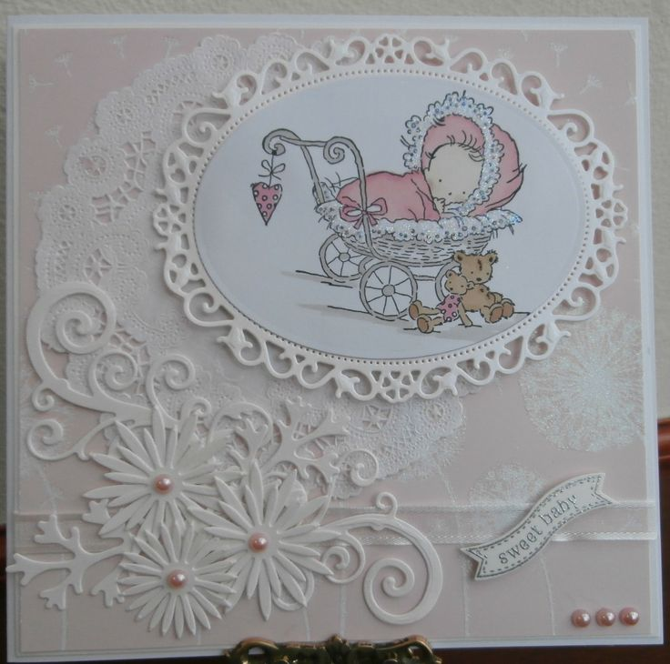 Baby card with Lili of the Valley stamp coloured with promarkers and spellbinder dies