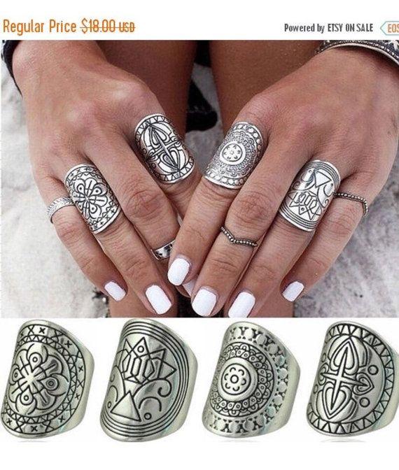 Anillos, anillos de plata, anillos Vintage, anillos de la declaración, gitano de plata anillos juego de 4