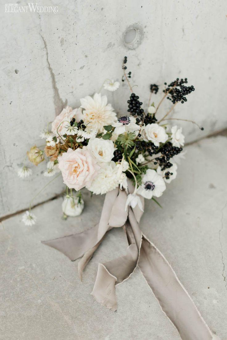 Organic Wedding Bouquet, Black and White Wedding Bouquet | ElegantWedding.ca