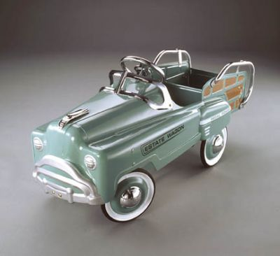 green estate wagon pedal car