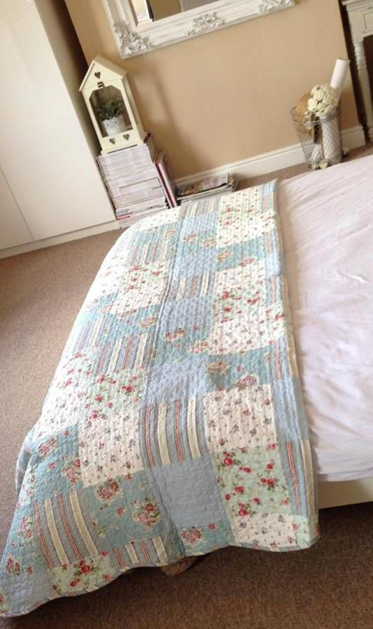 Duck Egg Blue Floral Quilted Throw
