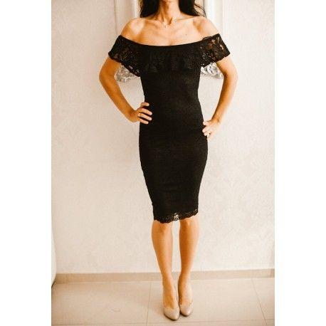 Mała czarna sukienka koronkowa hiszpanka