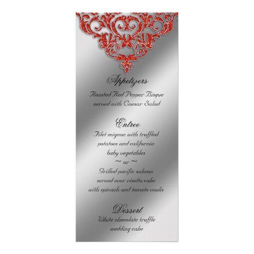 Indian Wedding Menus Damask Menu Cards Sparkle Orange