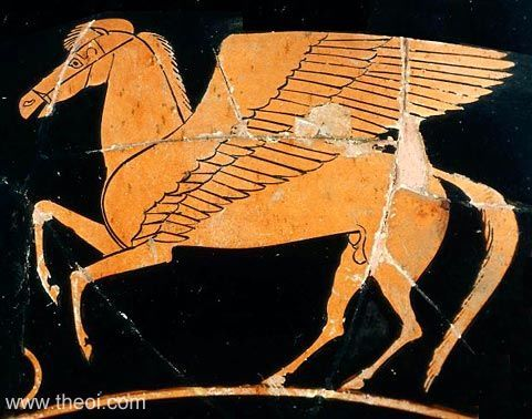 The winged horse Pegasus | Greek vase, Athenian red figure kylix