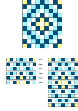 """Easy Baby Quilt pattern: sunshine and shadows. 41 by 50. Uses 5"""" squares."""