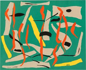 Grace Crowley 'Composition – movement' 1951, stencilled and hand-painted gouache on green paper, Collection of the National Gallery of Australia, Purchased 1993